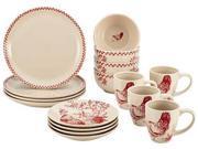 Rachael Ray Dinnerware Chanticleer Country 16-Piece Stoneware Dinnerware Set in Burgundy Red