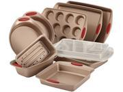 Rachael Ray Cucina Nonstick Bakeware 10-Piece Set in Latte Brown with Handle Grips in Cranberry Red N82E16803532026