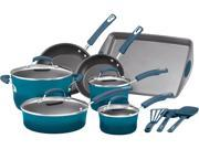 Rachael Ray Hard Enamel Nonstick 14-Piece Cookware Set, Marine Blue 9B-03-532-052