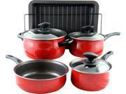 Sunbeam 109458.09 Kelfield 9 Piece Nonstick Cookware Set with Bakelite Handle/Knob, Red
