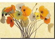 Pumpkin Poppies I by Shirley Novak is a Stretched Canvas Print<br><br>Artist Shirley Novak is a lifetime gardening enthusiast and flower lover who derives great joy in combining these passions in to a