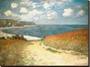 Path Through the Corn at Pourville, c.1882 by Claude Monet is a Stretched Canvas Print<br><br>Claude Monet (1840 – 1926), the founder of Impressionism, was one of the most influential landscape painte