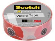 3M Washi Tape .59 X393 15mmx10m Poppy