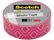 """3M Washi Tape .59""""X393"""" (15mmx10m)-Quatrefoil Pink"""