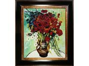 Van Gogh Paintings: Vase with Daisies and Poppies with Opulent Frame - Dark Stained Wood with Gold Trim - Hand Painted Framed Canvas Art