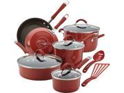 Rachael Ray Cucina Hard Porcelain Enamel Nonstick Cookware Set, 12-Piece, Cranberry Red 0DU-001Z-00112
