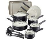 Paula Deen 14297 Savannah Collection Aluminum Nonstick 17-Piece Cookware Set, Black