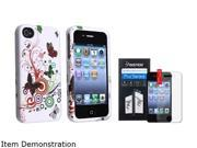 White Flower Butterfly Rubber Hard Case Skin+3x Screen Protector compatible with iPhone 4 4S