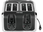 BLACK&DECKER TR1400SB 4-Slice Toaster, Black/Silver