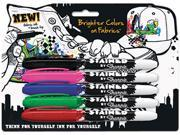 Sharpie Stained Permanent Fabric Marker, Brush Tip, Assorted Colors, 5/Pk, PK - SAN1792910