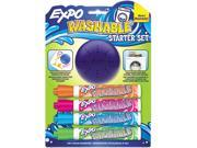 Washable Dry Erase Marker, Med Point, Starter Set, Assorted, 4/Pk W/Er