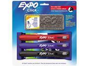 Click Dry Erase Marker Starter Set, Eraser/Wipes/Markers, Chisel, Asst