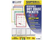 Reusable Dry Erase Pockets, 9 X 12, Assorted Primary Colors, 5/Pack