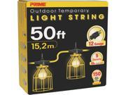 Prime Wire Model LSUGM830 50 ft. 12 3 SJTW Temporary Light Strip With Metal Cages