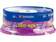Verbatim DVD+R DL 8.5GB 2.4X with Branded Surface - 20pk Spindle