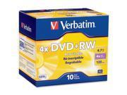Verbatim DataLifePlus 4.7GB 4X DVD+RW 10 Packs Disc Model 94839