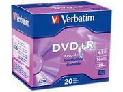 Verbatim 4.7GB 16X DVD+R 20 Packs Disc Model 95038