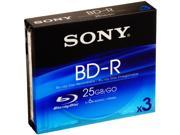 SONY 25GB 6X BD-R 3 Packs Disc Model BNR25R3H 9SIA4P025Z9043