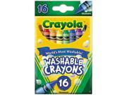 Crayola  Washable Crayons, Regular, 8 Colors, 16/Box