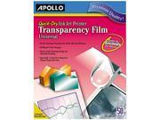 Quick-Dry Transparency Film, Removable Sensing Stripe, Letter, Clear,