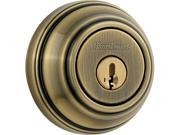 Kwikset 980 5 SMT RCAL RCS 980 Single Cylinder Antique Brass Deadbolt Featuring SmartKey