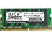 Black Diamond Memory 16GB 260 Pin DDR4 SO DIMM ECC Unbuffered DDR4 2133 PC4 17000 Server Memory Model BD16G2133MQO25