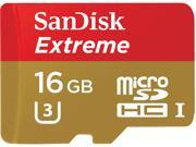 SanDisk 16GB Extreme microSDHC UHS-I/U3 Class 10 Memory Card with Adapter, Speed Up to 90MB/s (SDSQXNE-016G-GN6MA)