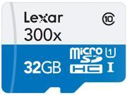 Lexar High-Performance microSDHC 300x 32 GB UHS-I/U1 (Up to 45 MB/s Read) w/Adapter Flash Memory Card