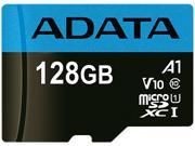 Image of ADATA 128GB Premier microSDXC UHS-I / Class 10 V10 A1 Memory Card with SD Adapter, Speed Up to 100MB/s (AUSDX128GUICL10A1-RA1)