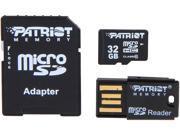 Patriot LX Series 32GB Class 10 Micro SDHC Flash Card Kit With SD & USB 2.0 Adapter Model PSF32GMCSHC10UK