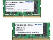 Patriot Signature Line 32GB (2 x 16G) 260-Pin DDR4 SO-DIMM DDR4 2133 (PC4 17000) Memory (Notebook Memory) Model PSD432G2133SK