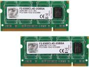 G.SKILL 2GB (2 x 1GB) 200-Pin DDR2 SO-DIMM DDR2 667 (PC2 5300) Dual Channel Kit Laptop Memory Model F2-5300CL4D-2GBSA
