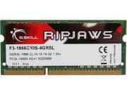 G.SKILL Ripjaws Series 4GB 204-Pin DDR3 SO-DIMM DDR3 1866 (PC3 14900) Laptop Memory Model F3-1866C10S-4GRSL