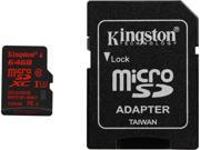 Kingston 64GB microSDHC 90R/80W Flash Card Model SDCA3/64GB
