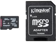 Kingston 64GB microSDXC Flash Card + SD Adapter Model SDC10G2/64GB