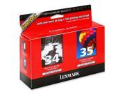 LEXMARK 18C0535 Twin-Pack #34, #35 High Yield Print Cartridges Black and Color