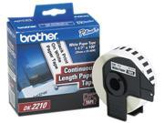"""Brother DK2210 Continuous Paper Label Tape, 1.1"""" x 100ft Roll, White"""