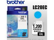 Brother Genuine LC20EC INKvestment Super High Yield Cyan Ink Cartridge - Inkjet - Super High Yield - 1200 Pages - Cyan - 1 Each