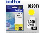 Brother Genuine LC20EY INKvestment Super High Yield Yellow Ink Cartridge - Inkjet - Super High Yield - 1200 Pages - Yellow - 1 Each