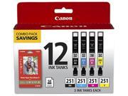 Canon CLI-251 BKCMY 12 Pack w/ PP-201 (50 Sheets) Ink Cartridges Black, Cyan, Magenta, Yellow