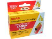 Kodak remanufactured CLI-226Y, 4549B001, CANON 225, Canon 226 Yellow inkjet cartridge compatible with Canon PIXMA iP4820, ix 6520 / 6550, MG 5120 / 5220 / 6120 / 6220 / 8120 / 8220, MX 882 / 885