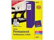 Avery 6570 Permanent ID Labels, Laser/Inkjet, 1-1/4 x 1-3/4, White, 480/Pack