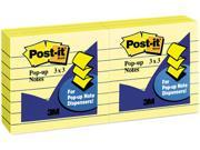 Post-it Pop-up Notes R-335-YW Pop-Up Note Refills, 3 x 3, Canary Yellow, Lined, 6 100-Sheet Pads/Pack