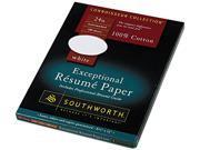 Southworth                               100% Cotton Résumé Paper, 24 lbs., 8-1/2 x 11, White, 100/Box