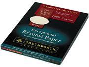Southworth                               100% Cotton Résumé Paper, 24 lbs., 8-1/2 x 11, Ivory, 100/Box