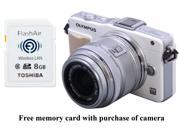 OLYMPUS E-PM2 White Micro Four Thirds Interchangeable Lens System Camera with Silver 14-42mm II R M. ...