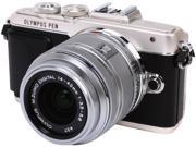 """OLYMPUS PEN E-PL7 V205071SU000 Silver 16.1MP 3.0"""" 1037K Touch LCD Micro Four Thirds Interchangeable Lens System Camera with M.Zuiko 14-42mm f3.5-5.6 II R Lens"""