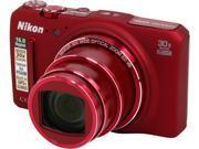 Nikon COOLPIX S9700 26470 Red 16.0 MP Digital Camera HDTV Output