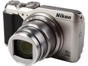 Nikon COOLPIX S9900 Silver 16.00 MP 30X Optical Zoom Wide Angle Digital Camera