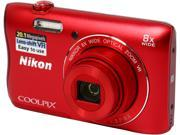Nikon COOLPIX S3700 Red 20.1 MP 8X Optical Zoom 25mm Wide Angle Digital Camera
